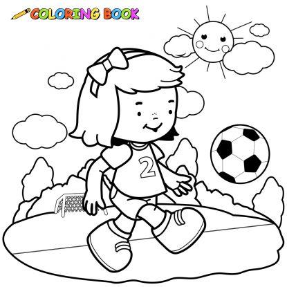 kolorowanki piłkarskie: mała futbolistka