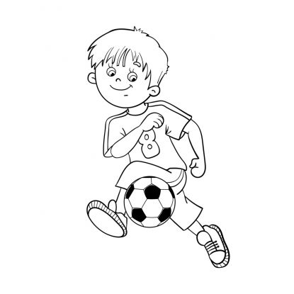 kolorowanki piłkarskie: chłopiec