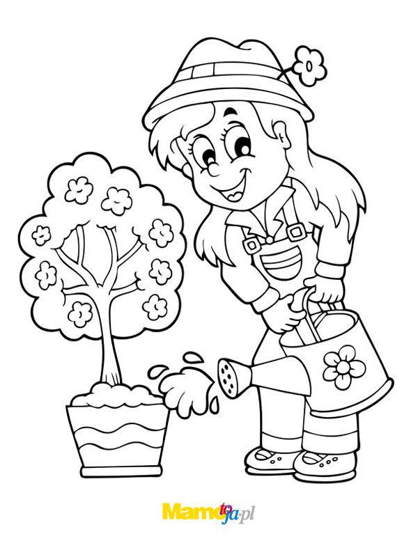 kolorowanki wiosna ogrodniczka