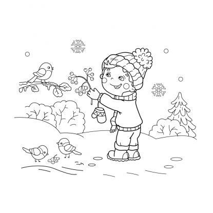 kolorowanki zima: dokarmianie ptaków