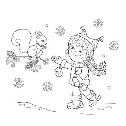 kolorowanki zima dokarmianie zwierzat