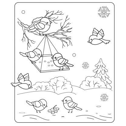 kolorowanki zima: ptaszki