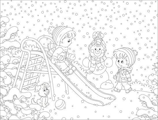kolorowanki zima: zabawy