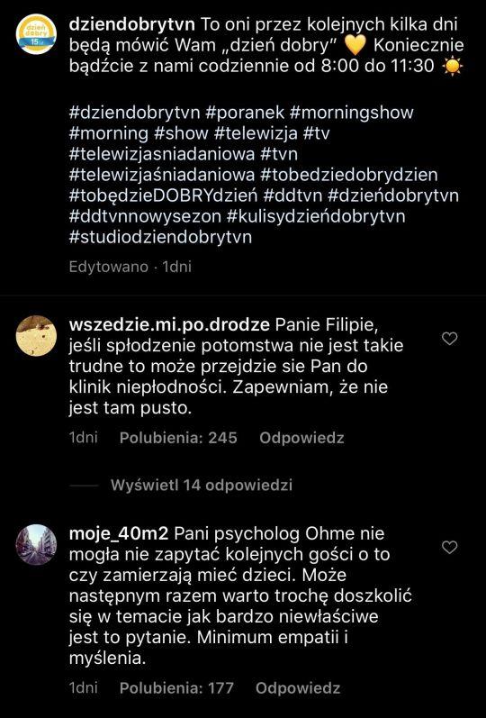 Niepochlebne komentarze pod zdjęciem DDTVN