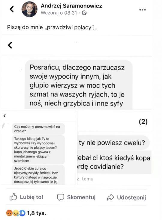 Saramonowicz publikuje tożsamość hejterów