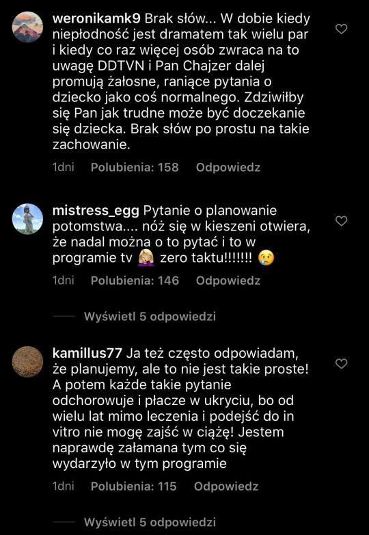 Komentarze dotyczące wypowiedzi Filipa Chajzera/Instagram/dziendobrytvn
