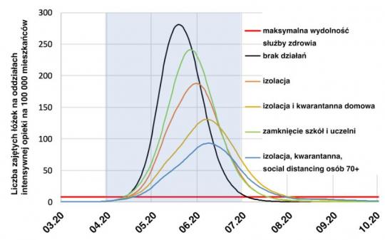 model matematyczny przebiegu epidemii przy róznych działaniach