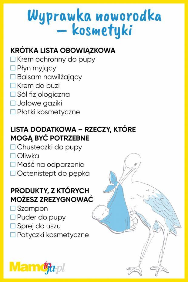Wyprawka dla noworodka - niezbędnik kosmetyczny - lista do wydruku