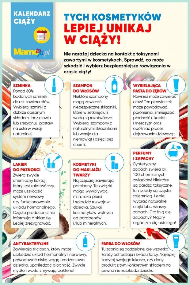 Kosmetyki zakazane w ciąży - lista do druku