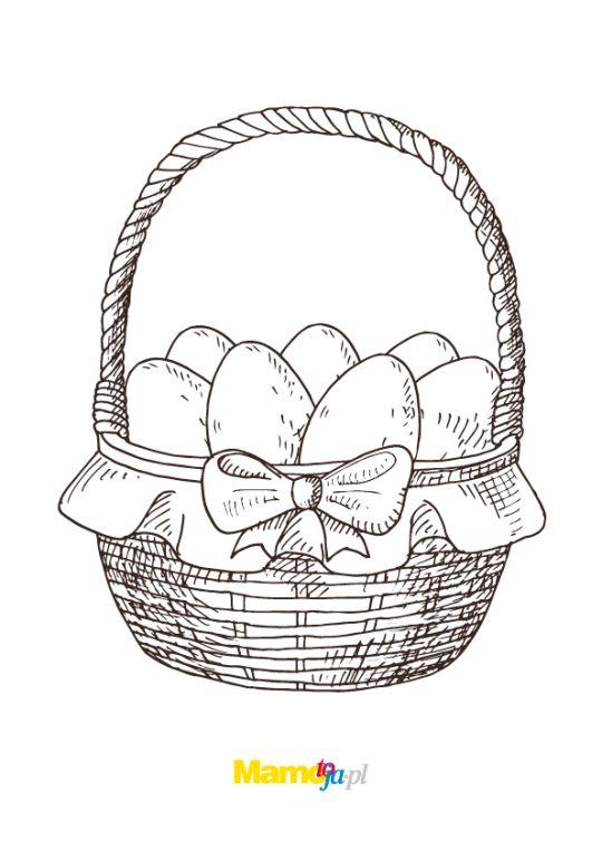 koszyczek wielkanocny kolorowanka