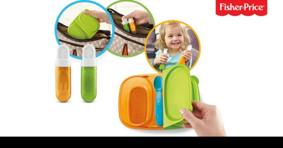 Kubek niekapek 3 w 1 i zestaw sztućców dla dziecka marki Fisher Price