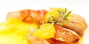 kurczak, cytryna, pomarańcza, mandarynka, sos