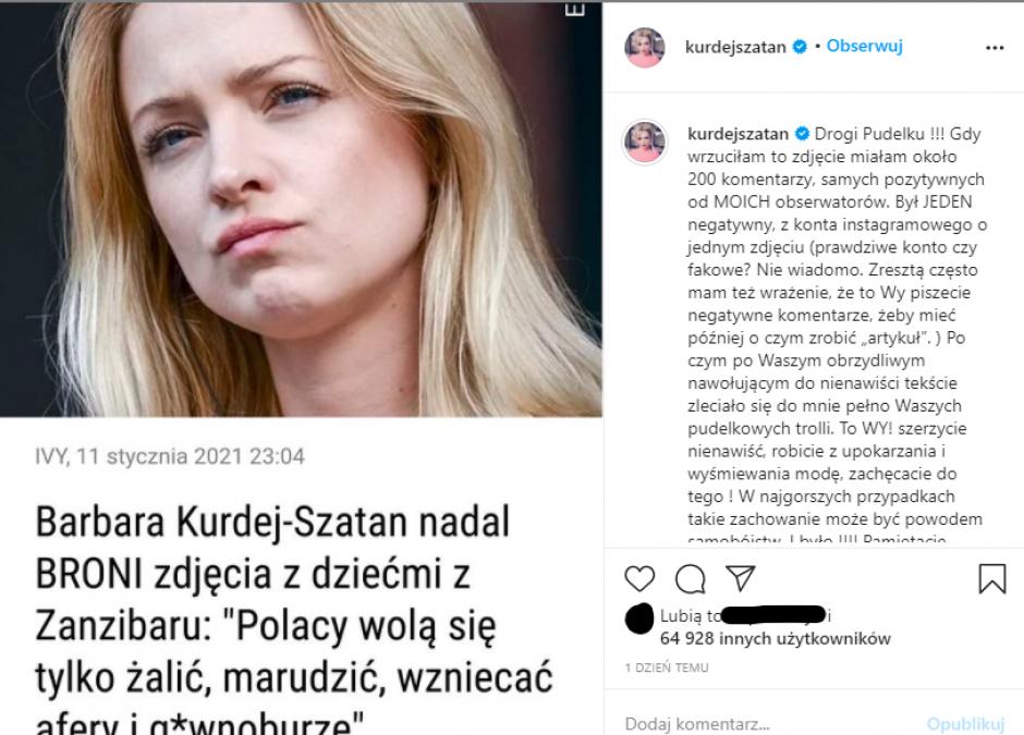 Kurdej-Szatan obrażona na media