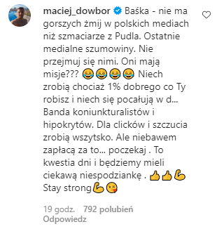 Maciej Dowbor wspiera Kurdej-Szatan