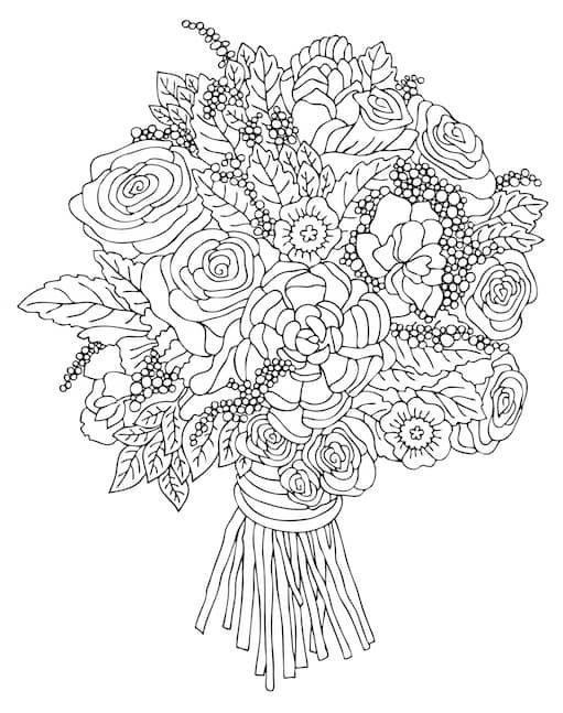 kwiaty kolorowanki bukiet kwiatów