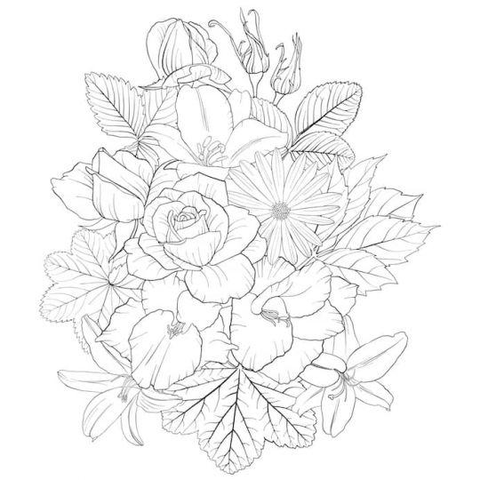 kwiaty kolorowanki bukiet kwiatów wiązanka