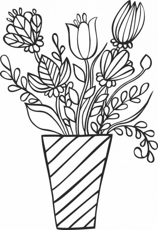 kwiaty kolorowanki kwiaty w wazonie