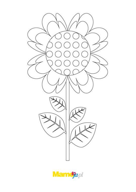 kolorowanki kwiaty z kropkowanym środkiem