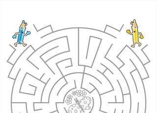 labirynt, gra dla dzieci, labirynt dla dzieci, labirynt z kredkami, labirynt z kolorowanką