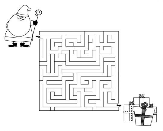 łamigłówki dla dzieci labirynt z Mikołajem
