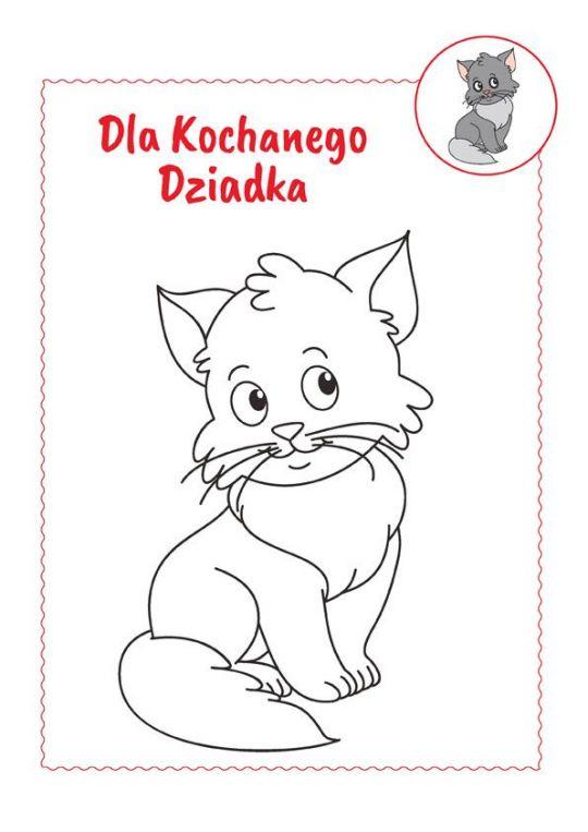 Jak zrobić laurkę dla dziadka - kolorowanka kotek