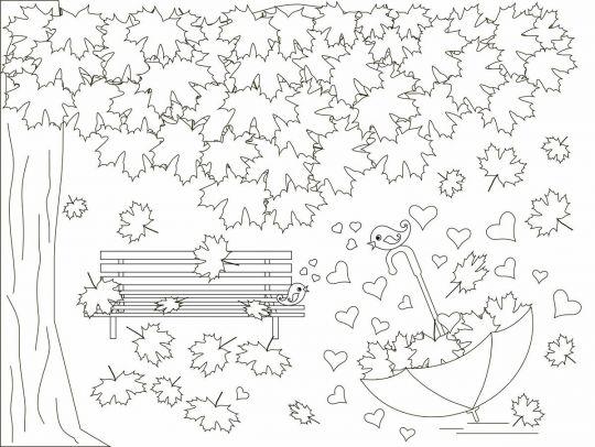 liście do druku: jesienny pejzaż do wydrukowania