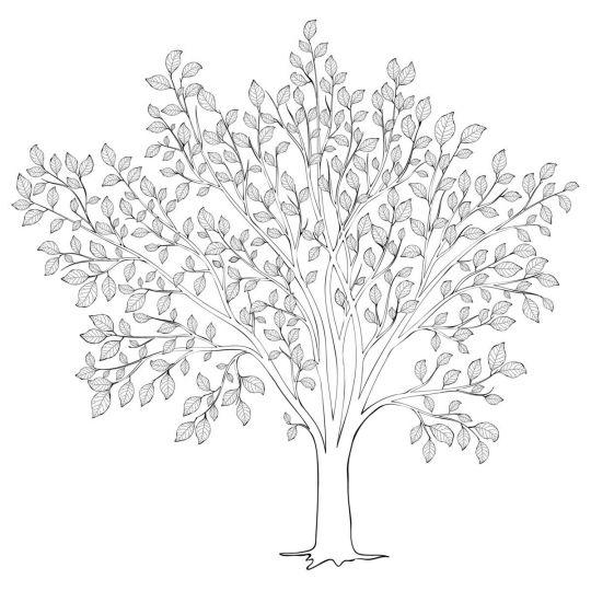 Jesienne drzewo z liśćmi do druku