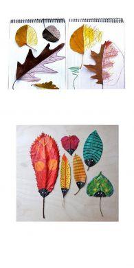 Jesienna zabawa - dorysowywanie połówek liści
