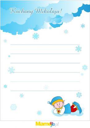 list do Mikołaja ze śnieżynkami