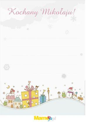 list do Mikołaja wzór z zimowym krajobrazem