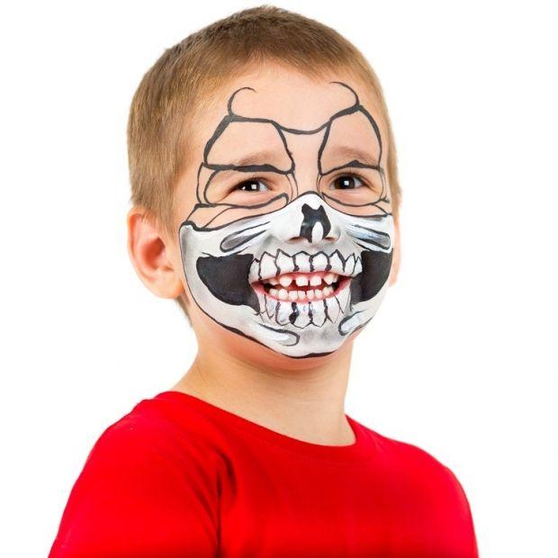 makijaż trupia czacha dla dziecka na Halloween