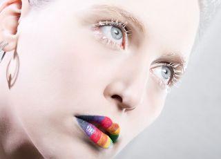 makijaż, twarz, usta
