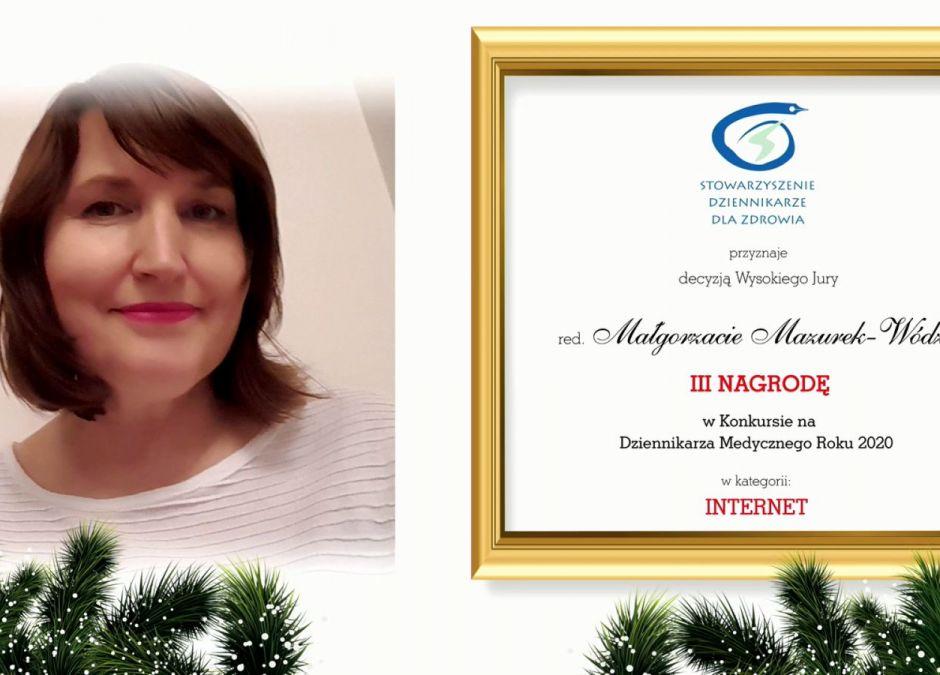 Małgorzata Wódz nagrodzona w konkursie na Dziennikarza Medycznego 2020