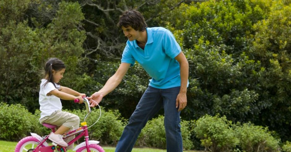maluch, tata, rower, wiosna