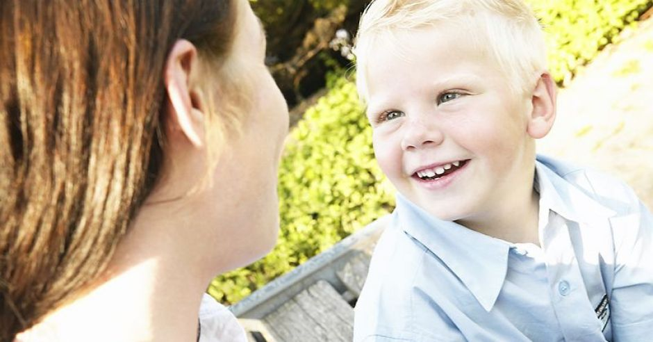 mama, dziecko, chłopiec, rozmowa, lato