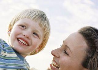 mama, dziecko, chłopiec, uśmiech