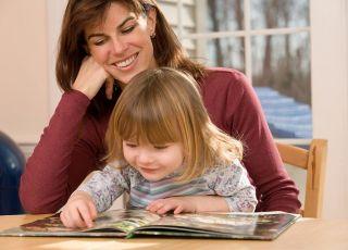 mama, dziecko, czytać, książka