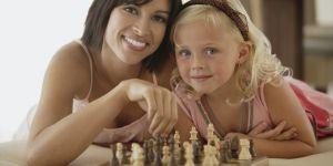 mama, dziecko, gra, szachy
