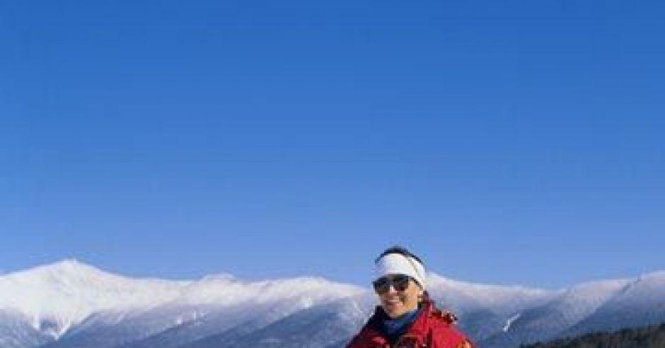 mama, dziecko, narty, zima, góry, nauka