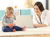 mama, dziecko, niemowlę, komputer