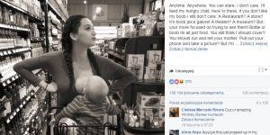 Mama karmi synka piersią w supermarkecie