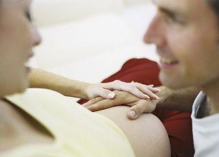 mama, kobieta, tata, ciążą, brzuch, głaskać
