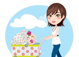 mama, niemowlę, wózek dziecięcy, spacer