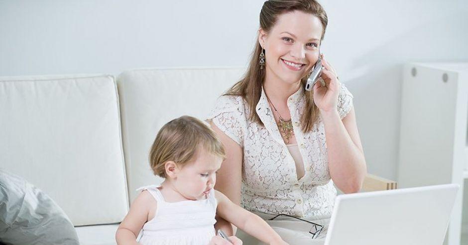 mama, niemwolę, praca, komputer, telefon