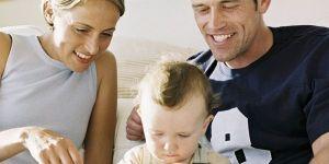 mama, tata, niemowlę, klocki, zabawka