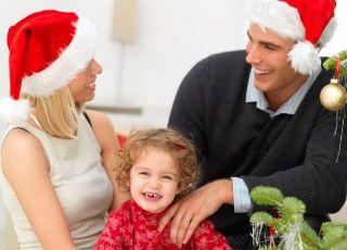 mama, tata, święta, Boże Narodzenie, dziecko, choinka
