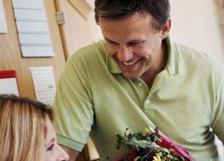 mama, tata, szpital, przed porodem, kwiaty