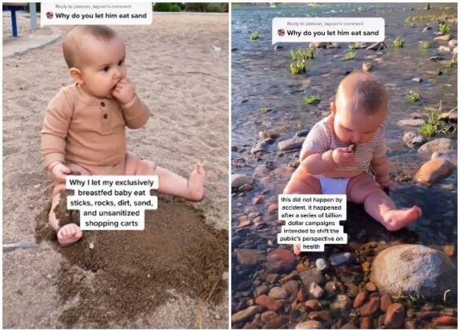 mama z TikToka pozwala jeść dziecku kamienie i patyki