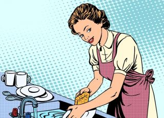 Mama zmywa naczynia i myśli, jak zażartować z dzieci