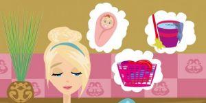 Mama zmywa naczynia i myśli o dziecku, praniu i sprzątaniu